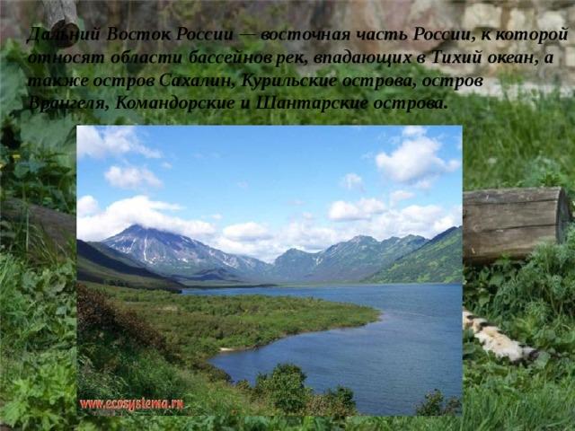 Дальний Восток России — восточная частьРоссии, к которой относят области бассейнов рек, впадающих вТихий океан, а также островСахалин, Курильские острова,остров Врангеля,КомандорскиеиШантарские острова.