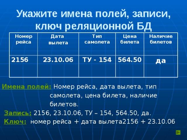 Укажите имена полей, записи, ключ реляционной БД Номер рейса Дата 2156 вылета 23.10.06 Тип самолета Цена билета ТУ - 154 Наличие билетов 564.50 да Имена полей:  Номер рейса, дата вылета, тип  самолета, цена билета, наличие  билетов.  Запись: 2156, 23.10.06, ТУ – 154, 564.50, да.  Ключ: номер рейса + дата вылета2156 + 23.10.06