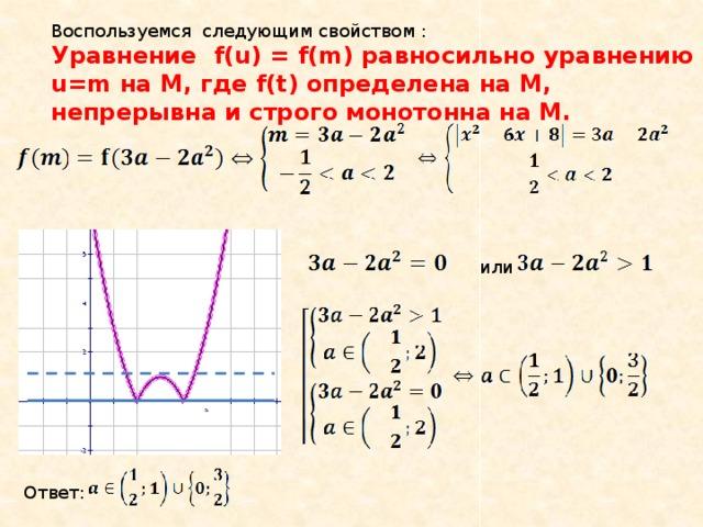 Воспользуемся следующим свойством : Уравнение  f(u) = f(m) равносильно уравнению u=m на М, где f(t) определена на М, непрерывна и строго монотонна на М. или Ответ: