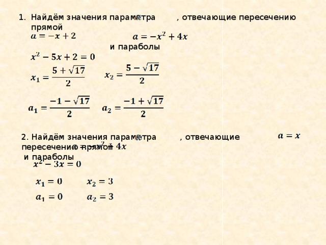 Найдём значения параметра , отвечающие пересечению прямой
