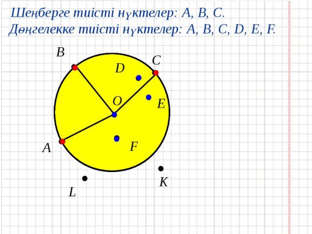 Шеңберге тиісті нүктелер: А, В, С. Дөңгелекке тиісті нүктелер: А, B, C, D, E, F. В С D         O E     F   А     K  L