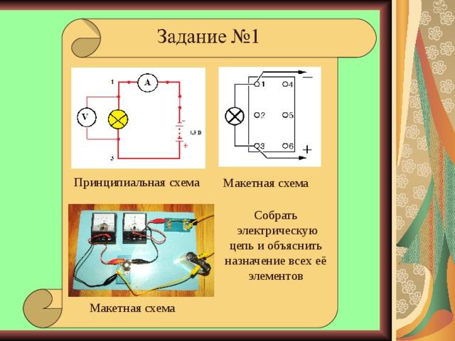 Принципиальная схема Макетная схема Собрать  электрическую цепь и объяснить назначение всех её элементов Черта, до которой прибор погружается в воде при известном грузе на тарелочке Макетная схема