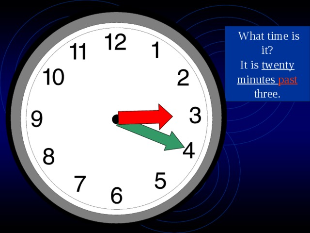 What time is it? It is twenty  minutes past three.