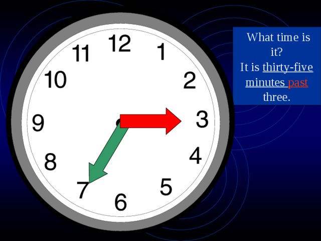 What time is it? It is thirty-five minutes past three.