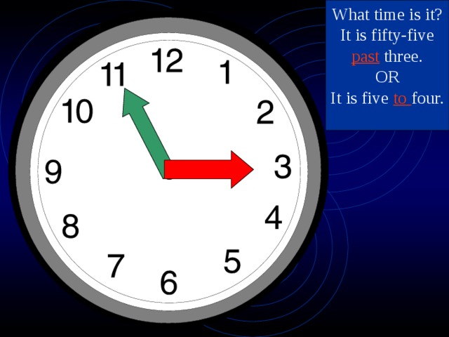 What time is it? It is fifty-five past three. OR It is five to four.
