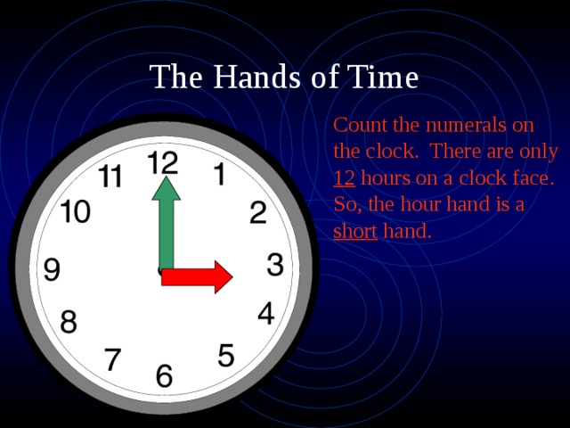 Count the numerals on the clock. There are only 12 hours on a clock face. So, the hour hand is a short hand.