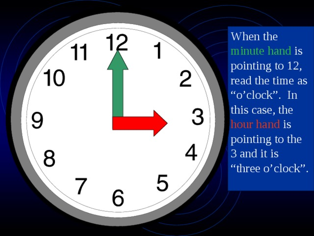 """When the minute hand is pointing to 12, read the time as """"o'clock"""". In this case, the hour hand is pointing to the 3 and it is """"three o'clock""""."""