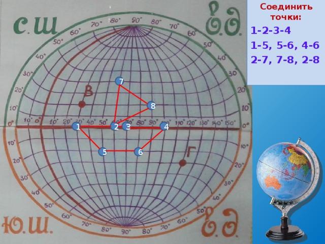 Соединить точки: Т1 (0  ш., 30  в.д.) Т2 (0  ш., 60  в.д.) Т3 (0  ш., 70  в.д.) Т4 (0  ш., 100  в.д.) Т5 (20  ю.ш., 50  в.д.) Т6 (20  ю.ш., 80  в.д.) Т7 (40  с.ш., 60  в.д.) Т8 (20  с.ш., 90  в.д.) 1-2-3-4 1-5, 5-6, 4-6 2-7, 7-8, 2-8 7 8 4 1 2 3 6 5