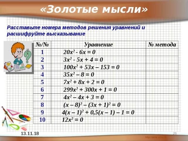 «Золотые мысли» Расставьте номера методов решения уравнений и расшифруйте высказывание № / № Уравнение 1 № метода  20 x 2 - 6x = 0 2  3x 2 - 5x + 4 = 0 3  100x 2 + 53x – 153 = 0 4  35x 2 – 8 = 0 5  7x 2 + 8x + 2 = 0 6  299x 2  + 300x + 1 = 0 7  4x 2 – 4x + 3 = 0 8  (x – 8) 2 – (3x + 1) 2 = 0 9  4(x – 1) 2 + 0,5(x – 1) – 1 = 0 10  12x 2 = 0  13.11.18