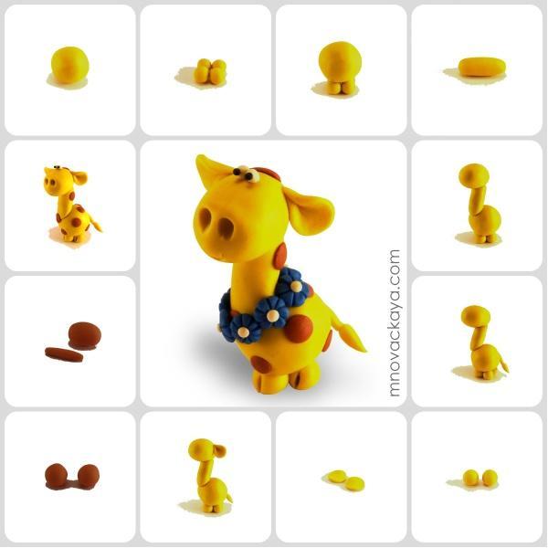 Жираф из пластилина пошагово с картинками