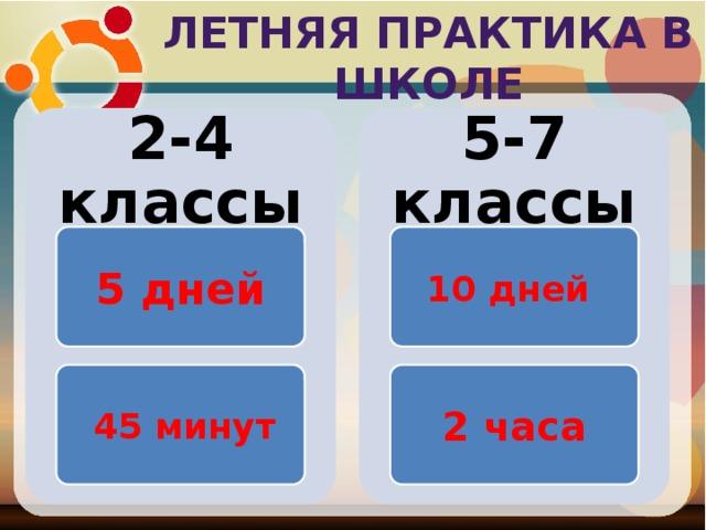 Летняя практика в школе 2-4 классы 5-7 классы 5 дней 10 дней  45 минут 2 часа