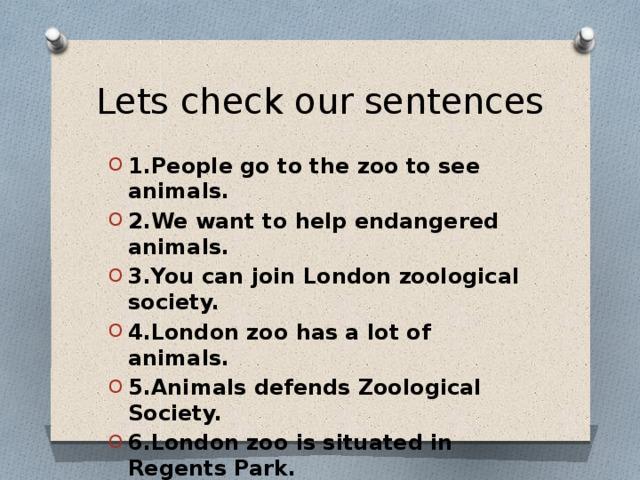 Lets check our sentences
