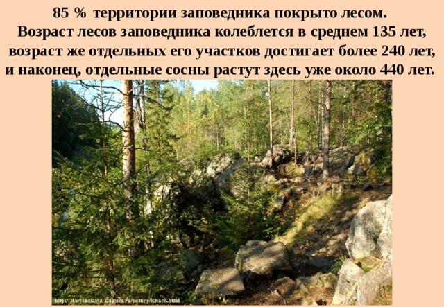 85 % территории заповедника покрыто лесом.  Возраст лесов заповедника колеблется всреднем 135лет, возраст жеотдельных его участков достигает более240лет, инаконец, отдельные сосны растут здесь уже около 440лет.