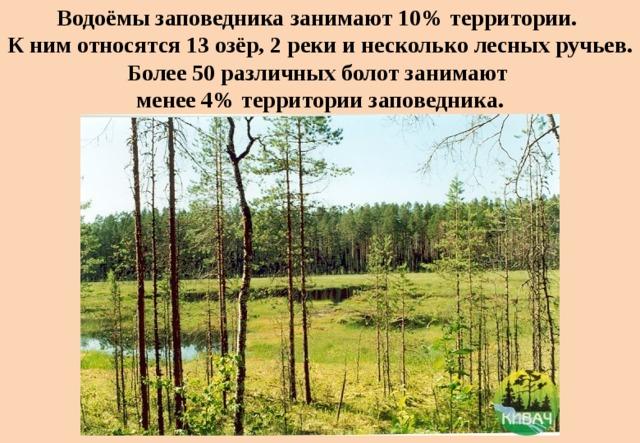 Водоёмы заповедника занимают 10% территории.  К ним относятся 13озёр, 2реки инесколько лесных ручьев. Более 50различных болот занимают  менее 4% территории заповедника.