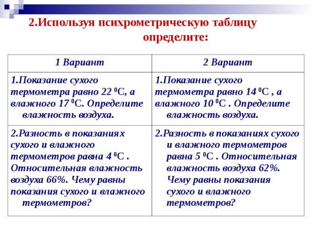 2.Используя психрометрическую таблицу  определите: 1 Вариант 2 Вариант 1.Показание сухого термометра равно 22 0 С , а влажного 17 0 С . Определите влажность воздуха. 1.Показание сухого термометра равно 14 0 С , а влажного 10 0 С . Определите влажность воздуха. 2.Разность в показаниях сухого и влажного термометров равна 4 0 С . Относительная влажность воздуха 66%. Чему равны показания сухого и влажного термометров? 2.Разность в показаниях сухого и влажного термометров равна 5 0 С . Относительная влажность воздуха 62%. Чему равны показания сухого и влажного термометров?