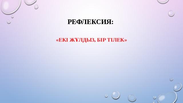 Рефлексия: «Екі жұлдыз, бір тілек»
