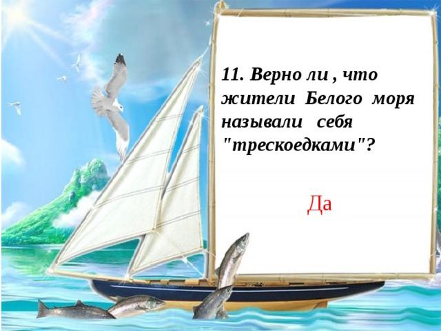 11. Верно ли , что жители Белого моря называли себя