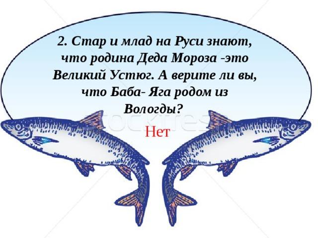 2. Стар и млад на Руси знают, что родина Деда Мороза -это Великий Устюг. А верите ли вы, что Баба- Яга родом из Вологды? Нет