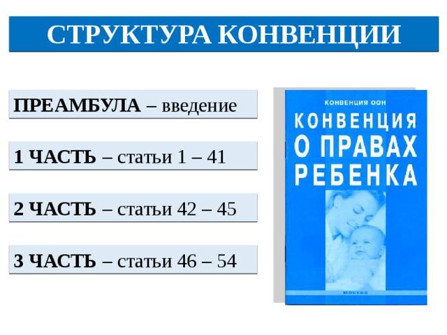 СТРУКТУРА КОНВЕНЦИИ ПРЕАМБУЛА – введение 1 ЧАСТЬ – статьи 1 – 41 2 ЧАСТЬ – статьи 42 – 45 3 ЧАСТЬ – статьи 46 – 54
