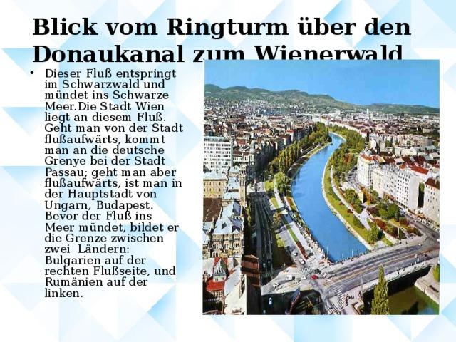 Blick vom Ringturm über den Donaukanal zum Wienerwald
