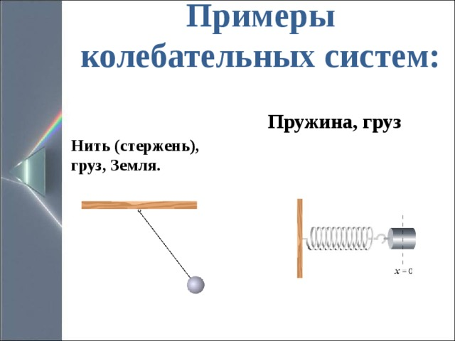 Примеры колебательных систем:   Пружина, груз Нить (стержень), груз, Земля.