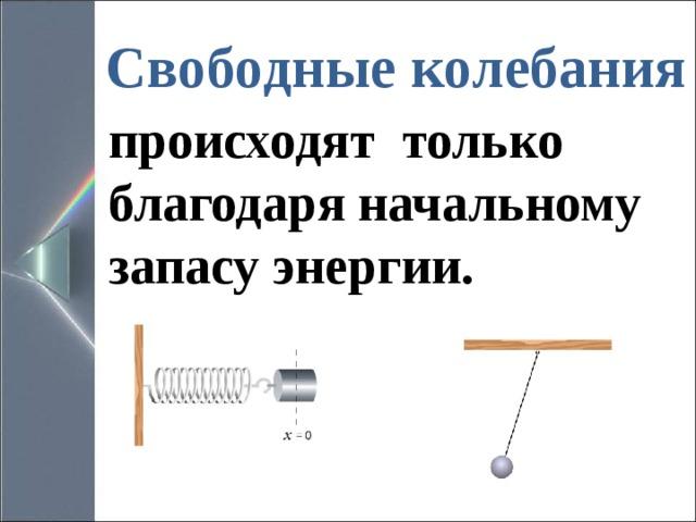 Свободные колебания происходят только благодаря начальному запасу энергии.