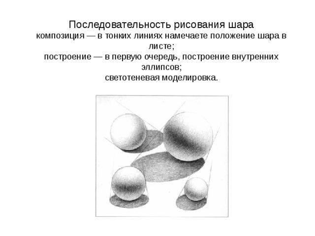 Последовательность рисования шара  композиция — в тонких линиях намечаете положение шара в листе;  построение — в первую очередь, построение внутренних эллипсов;  светотеневая моделировка.