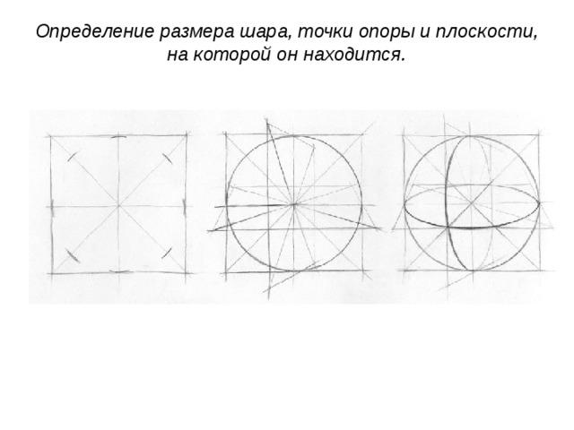 Определение размера шара, точки опоры и плоскости, на которой он находится.