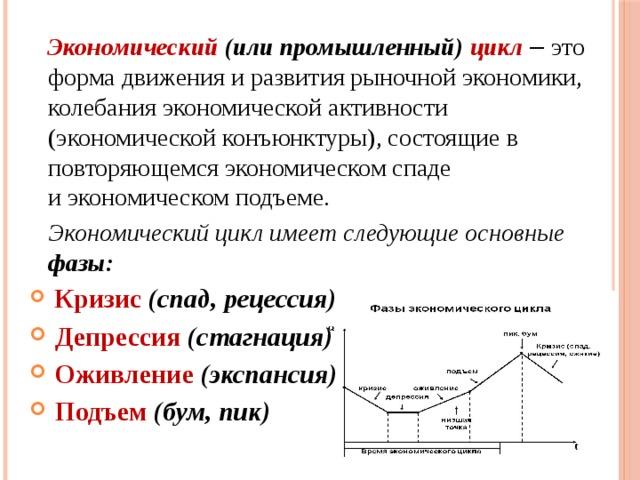 Экономический (или промышленный) цикл – это форма движения и развития рыночной экономики, колебанияэкономической активности (экономическойконъюнктуры), состоящие в повторяющемсяэкономическомспаде иэкономическомподъеме.  Экономический цикл имеет следующие основные фазы: