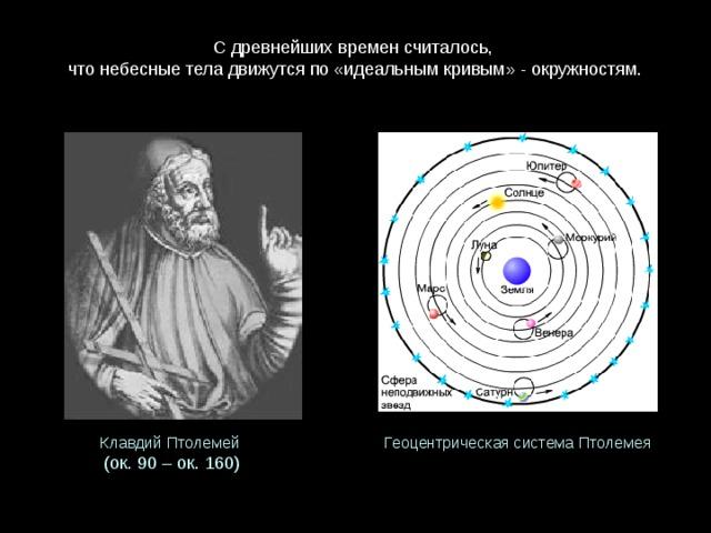 С древнейших времен считалось,  что небесные тела движутся по «идеальным кривым» - окружностям.   ГеоцентрическаясистемаПтолемея КлавдийПтолемей (ок.90 – ок.160)