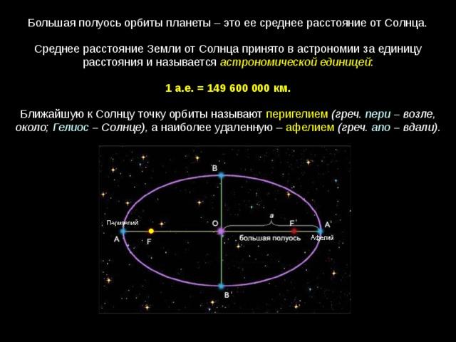 Большая полуось орбиты планеты – это ее среднее расстояние от Солнца. Среднее расстояние Земли от Солнца принято в астрономии за единицу расстояния и называется астрономической единицей : 1 а.е. = 149 600 000  км.  Ближайшую к Солнцу точку орбиты называют перигелием  (греч. пери – возле, около; Гелиос – Солнце), а наиболее удаленную – афелием  (греч. апо  – вдали).