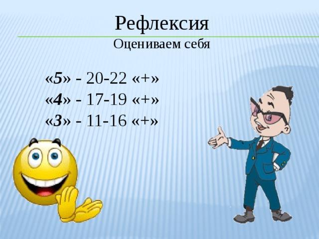 Рефлексия Оцениваем себя « 5 » - 20-22 «+» « 4 » - 17-19 «+» « 3 » - 11-16 «+»