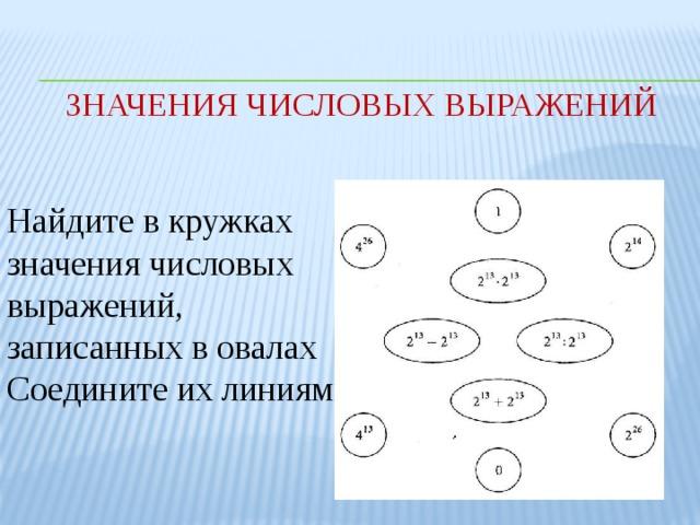 Значения числовых выражений Найдите в кружках значения числовых выражений, записанных в овалах Соедините их линиями.