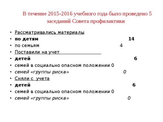 В течение 2015-2016 учебного года было проведено 5 заседаний Совета профилактики