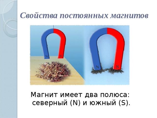 Свойства постоянных магнитов Магнит имеет два полюса: северный ( N ) и южный ( S ).