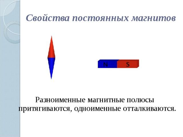 Свойства постоянных магнитов Разноименные магнитные полюсы притягиваются, одноименные отталкиваются.