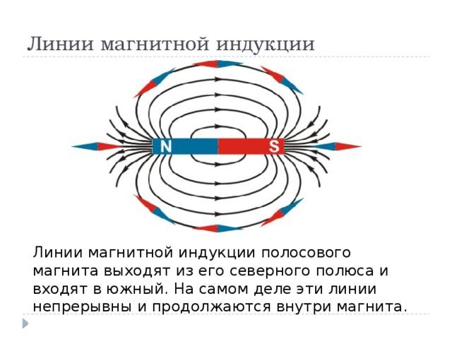 Линии магнитной индукции Линии магнитной индукции полосового магнита выходят из его северного полюса и входят в южный. На самом деле эти линии непрерывны и продолжаются внутри магнита.