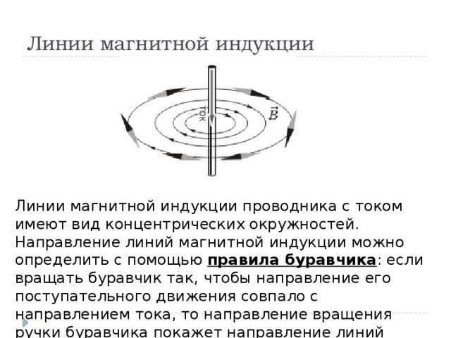 Линии магнитной индукции Линии магнитной индукции проводника с током имеют вид концентрических окружностей. Направление линий магнитной индукции можно определить с помощью правила буравчика : если вращать буравчик так, чтобы направление его поступательного движения совпало с направлением тока, то направление вращения ручки буравчика покажет направление линий магнитной индукции.