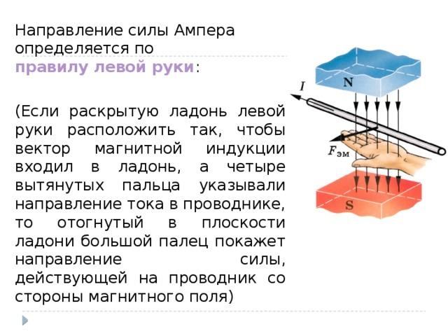 Направление силы Ампера определяется по правилу левой руки : (Если раскрытую ладонь левой руки расположить так, чтобы вектор магнитной индукции входил в ладонь, а четыре вытянутых пальца указывали направление тока в проводнике, то отогнутый в плоскости ладони большой палец покажет направление силы, действующей на проводник со стороны магнитного поля)