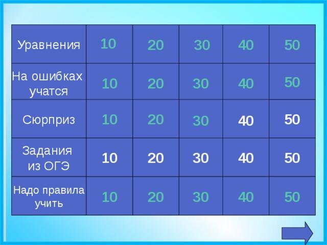 Уравнения 20 30 40 50 10 10 20 30 40 На ошибках учатся 50 Сюрприз 20 10 50 40 30 20 Задания из ОГЭ 10 30 40 50 50 40 30 10 20 Надо правила учить