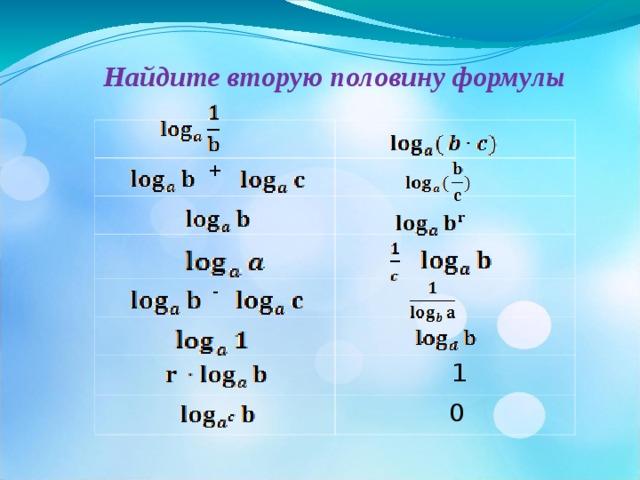 Найдите вторую половину формулы  + -   -  -   1  0