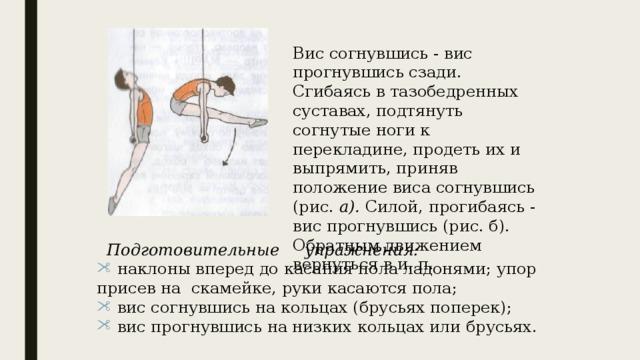 Вис согнувшись - вис прогнувшись сзади. Сгибаясь в тазобедренных суставах, подтянуть согнутые ноги к перекладине, продеть их и выпрямить, приняв положение виса согнувшись (рис. а). Силой, прогибаясь - вис прогнувшись (рис. б). Обратным движением вернуться в и. п.  Подготовительные упражнения: