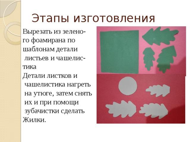 Этапы изготовления Вырезать из зелено- го фоамирана по шаблонам детали  листьев и чашелис- тика Детали листков и  чашелистика нагреть  на утюге, затем снять  их и при помощи  зубачистки сделать Жилки.