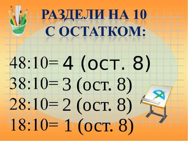 4 (ост. 8) 3 (ост. 8) 2 (ост. 8) 1 (ост. 8)