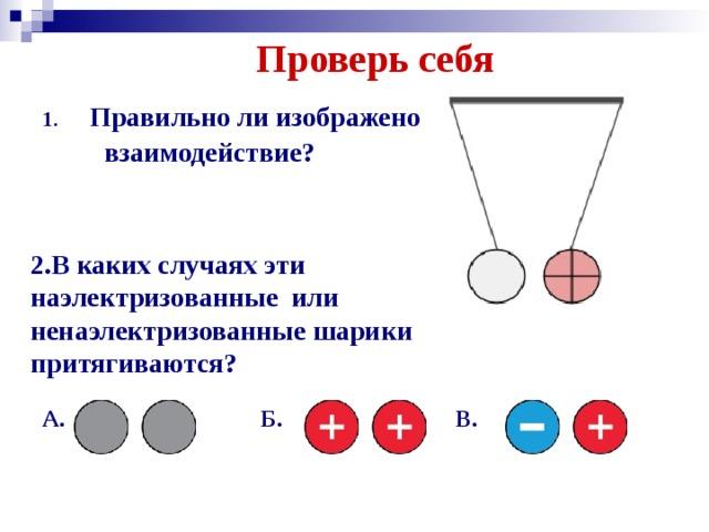 Проверь себя Правильно ли изображено  взаимодействие? 2.В каких случаях эти наэлектризованные или ненаэлектризованные шарики притягиваются? А. Б. В.