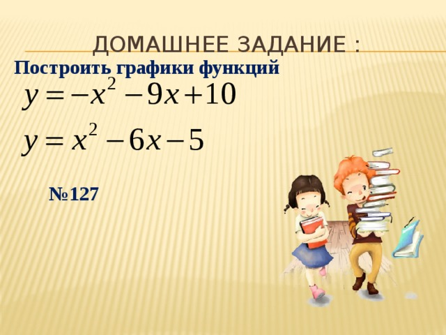 ДОМАШНЕЕ ЗАДАНИЕ : Построить графики функций № 127