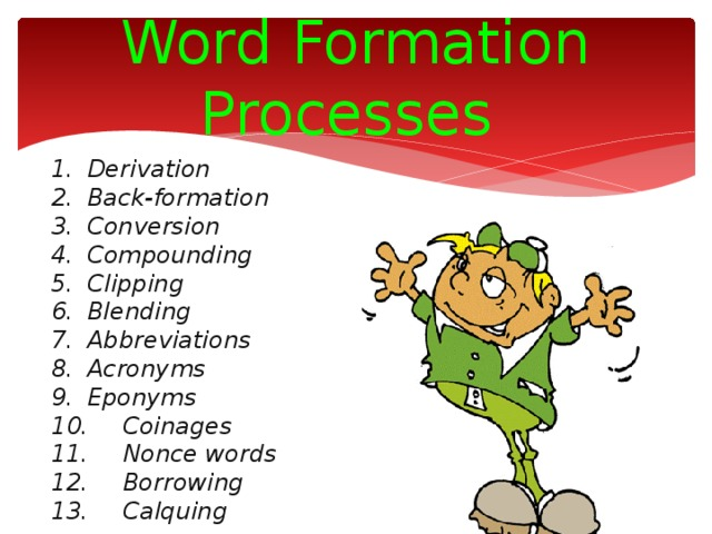 Word Formation Processes 1.  Derivation 2.  Back-formation 3.  Conversion 4.  Compounding 5.  Clipping 6.  Blending 7.  Abbreviations 8.  Acronyms 9.  Eponyms 10.  Coinages 11.  Nonce words 12.  Borrowing 13.  Calquing
