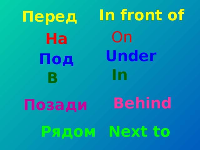 In front of Перед On На Under Под In В Behind Позади Рядом Next to