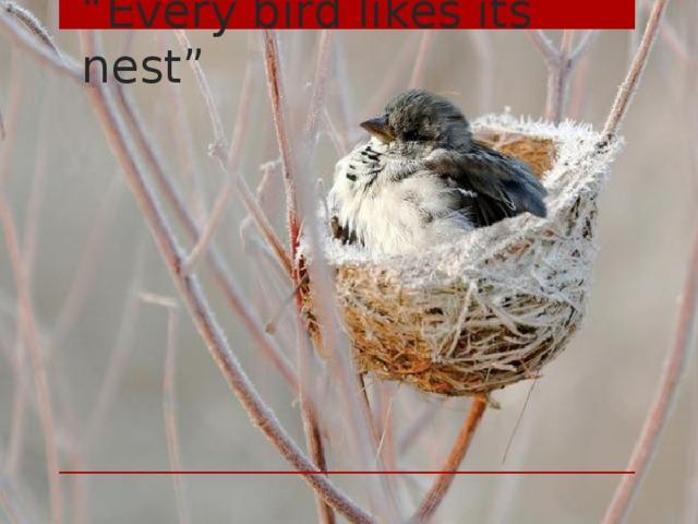 """ Every bird likes its nest"""