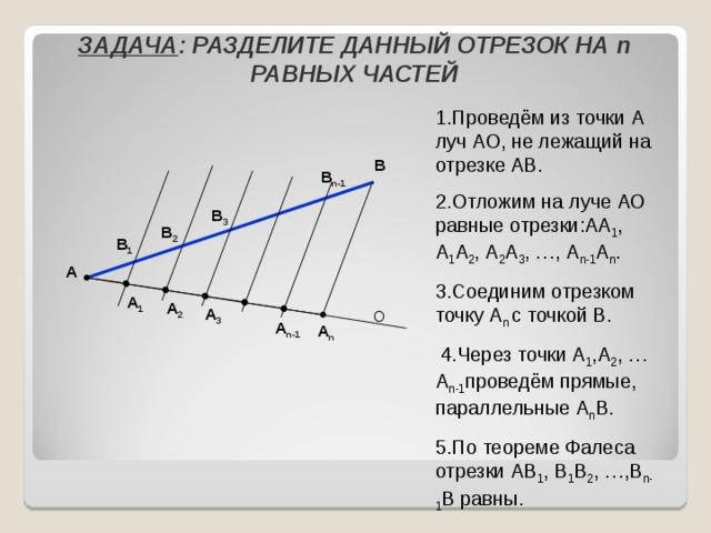 ЗАДАЧА : РАЗДЕЛИТЕ ДАННЫЙ ОТРЕЗОК НА n РАВНЫХ ЧАСТЕЙ 1.Проведём из точки А луч АО, не лежащий на отрезке АВ. 2.Отложим на луче АО равные отрезки:АА 1 , А 1 А 2 , А 2 А 3 , …, А n-1 А n . 3.Соединим отрезком точку А n с точкой В.  4.Через точки А 1 ,А 2 , … А n-1 проведём прямые, параллельные А n В. 5.По теореме Фалеса отрезки АВ 1 , В 1 В 2 , …,В n-1 В равны. В В n-1 В 3 В 2 В 1 А А 1 А 2 А 3 О  А n-1 А n